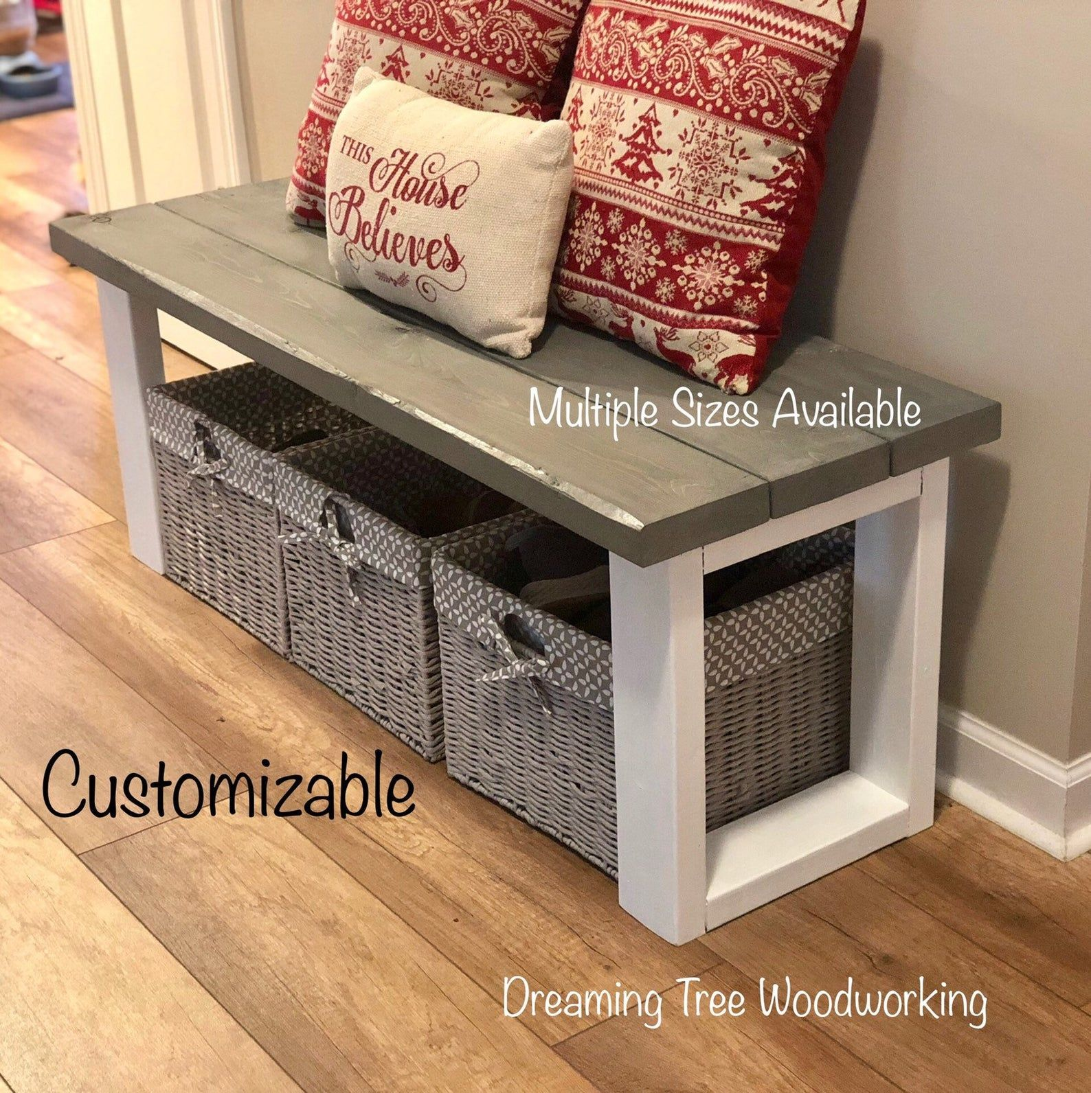 Entryway Bench | Farmhouse Style Wood Bench