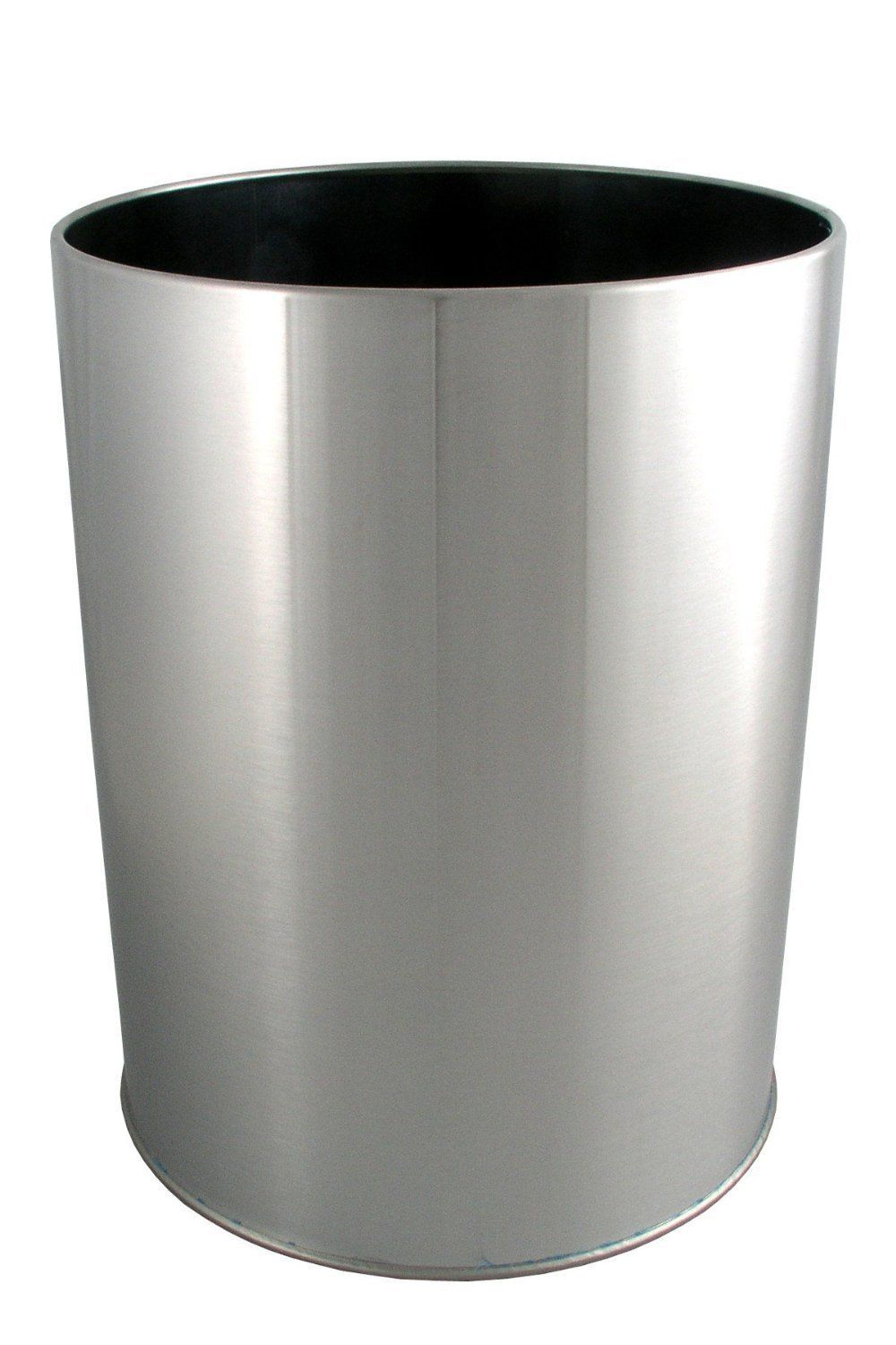 12 42 2 Gallons Heavy Duty Brushed Nickel Finish Round Waste Basket Trash Can Bathroom