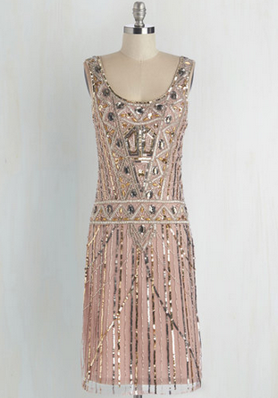 Sparkly blush art deco inspired cocktail dress