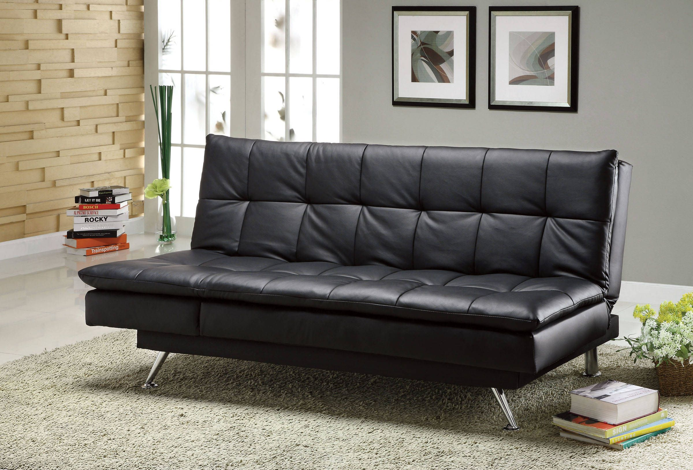 Hasty Contemporary Black Leatherette Futon Sofa | The Classy Home ...
