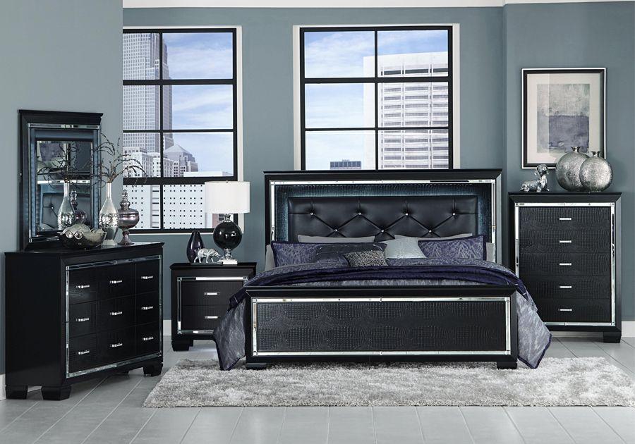 Allura Black Queen 5 Pc Bedroom Package Black Bedroom Sets