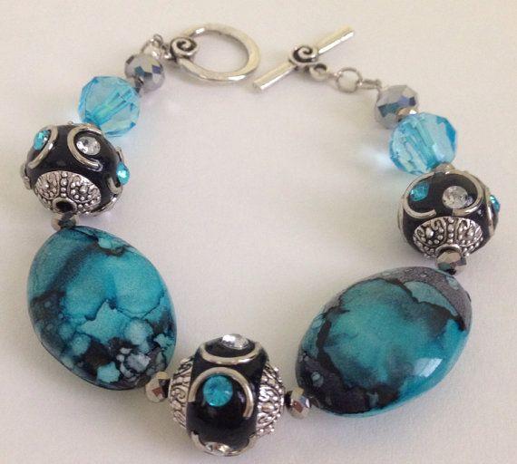 Aqua & Black bracelet on Etsy, $18.00