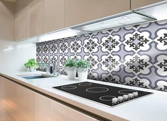Blue kitchen tile vinyl wall protector | Kitchen and Bathroom Splashback | Peel & Stick | Moroccan #59S #bathroomsplashback