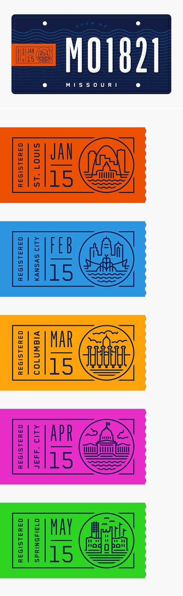 Fun Concept At License Plate Sticker Design Missouri License Plate On Behance Ticket Design Voucher Design Graphic Design Inspiration