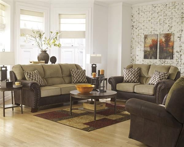 Vandive Contemporary Sand Fabric 3pc Living Room Set 3 Piece