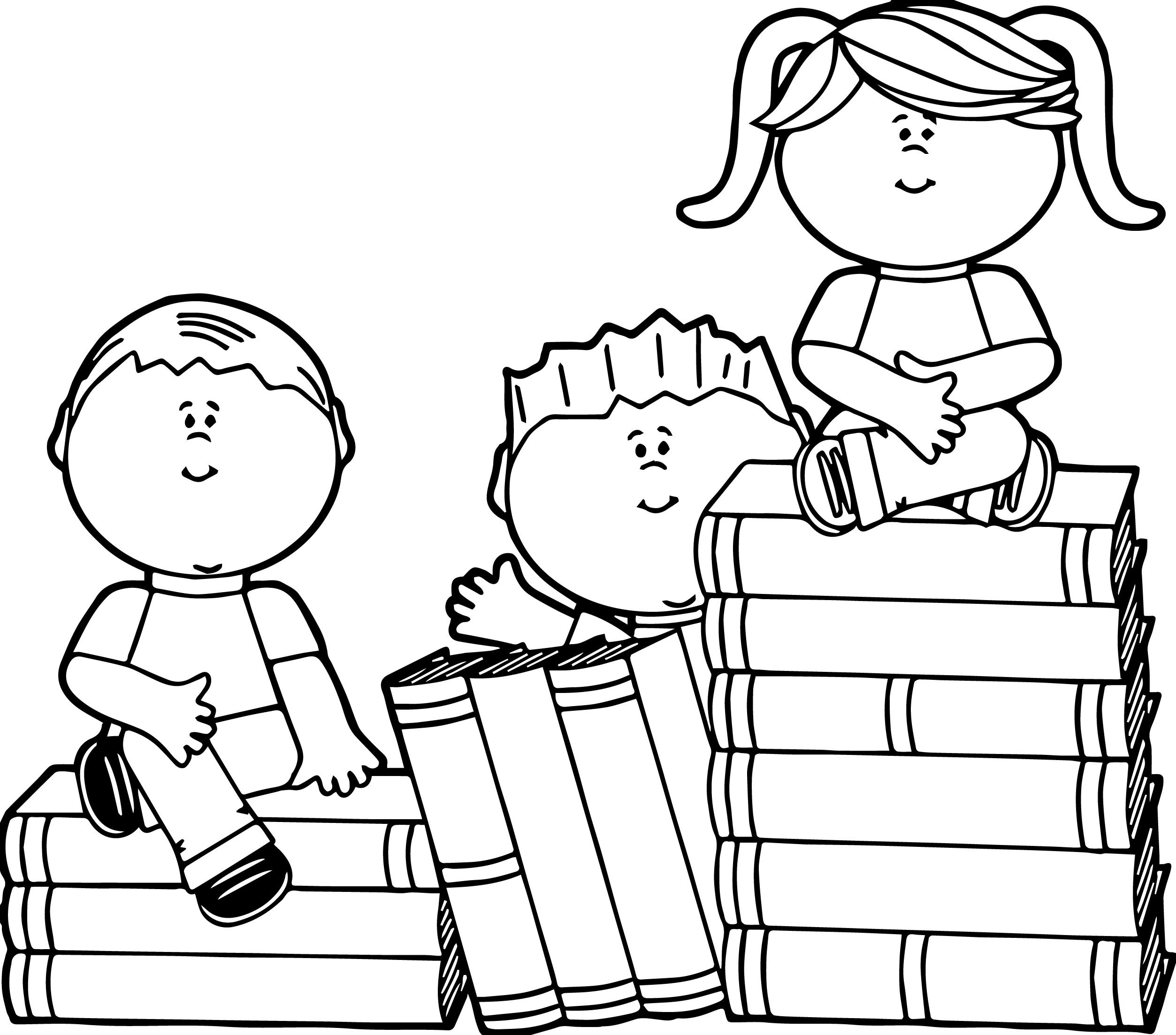 Kids Sitting On Books Kids Coloring Page Coloriage Coloriage Ecole Coloriage Enfant