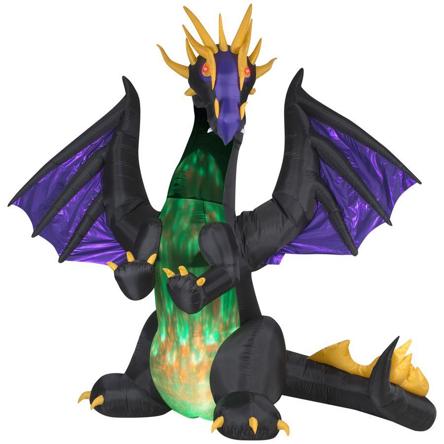 Inflatable Christmas Dragon.Gemmy 8 95 Ft Animatronic Lighted Dragon Halloween