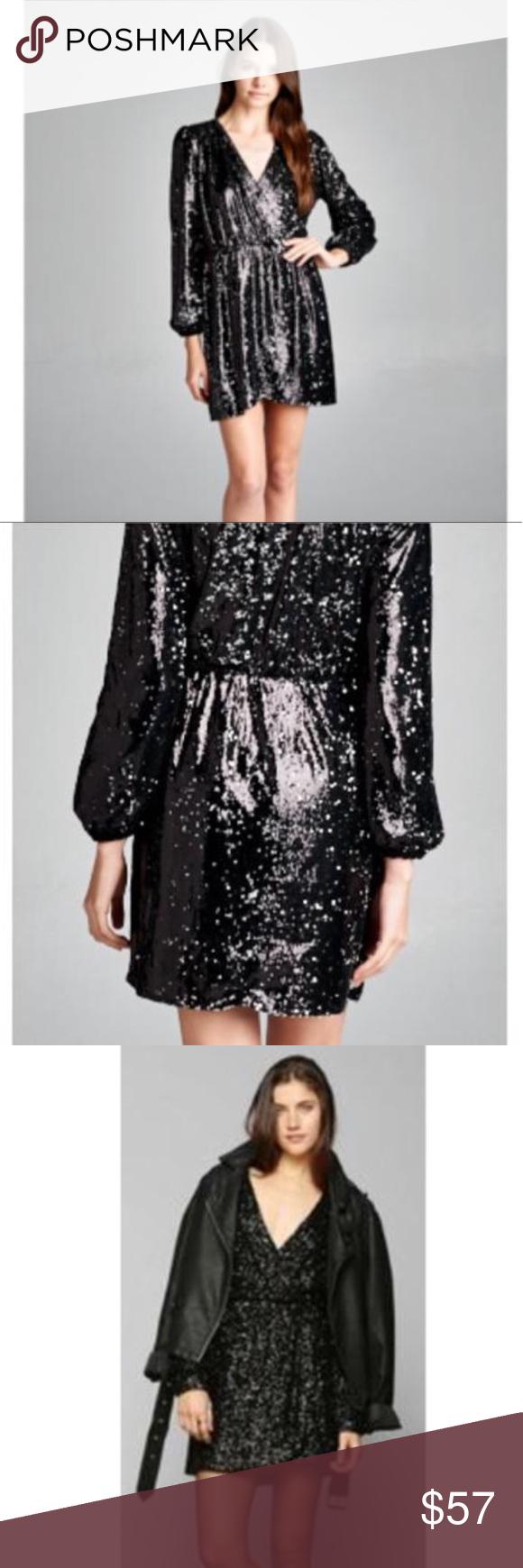 Lourdes black sequin wrap dress dress brands size model and black