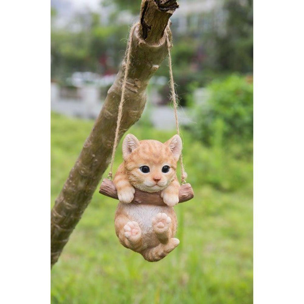 Http Www Ebay Com Itm Tabby Kitten Cat Hanging Swing Figurine Tree Ornament Garden Resin 5 034 372062327932 Tabby Kitten Tabby Cat Orange Tabby Cats
