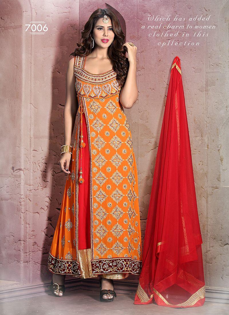 Innovative Orange Party Wear Designer Anarkali Suit | Best Selling ...