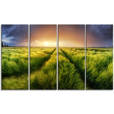 DesignArt 'Storm and Light on Meadow' 4 Piece Graphic Art on Wrapped Canvas Set