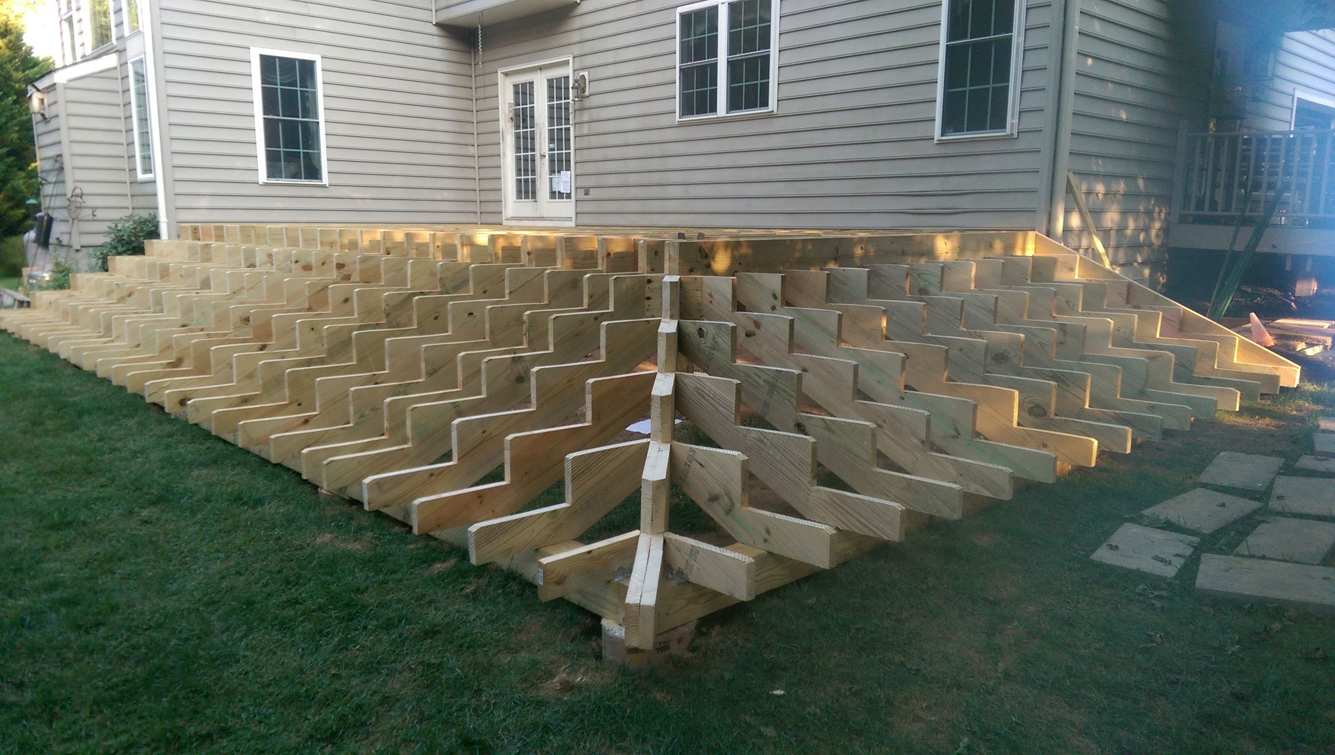 Best Deck 29 X 14 With Stairs Around Two Sides Deck Stairs 400 x 300