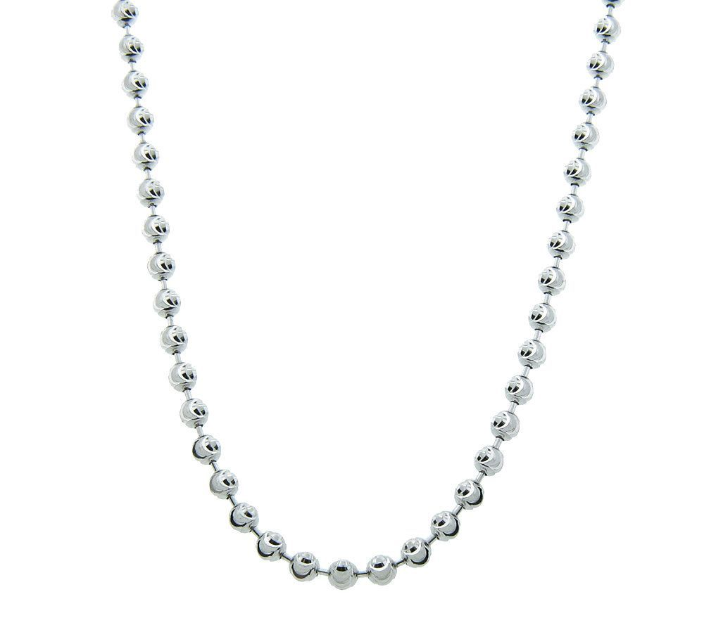 "Sterling Silver Diamond Cut Bead 18"" Necklace 