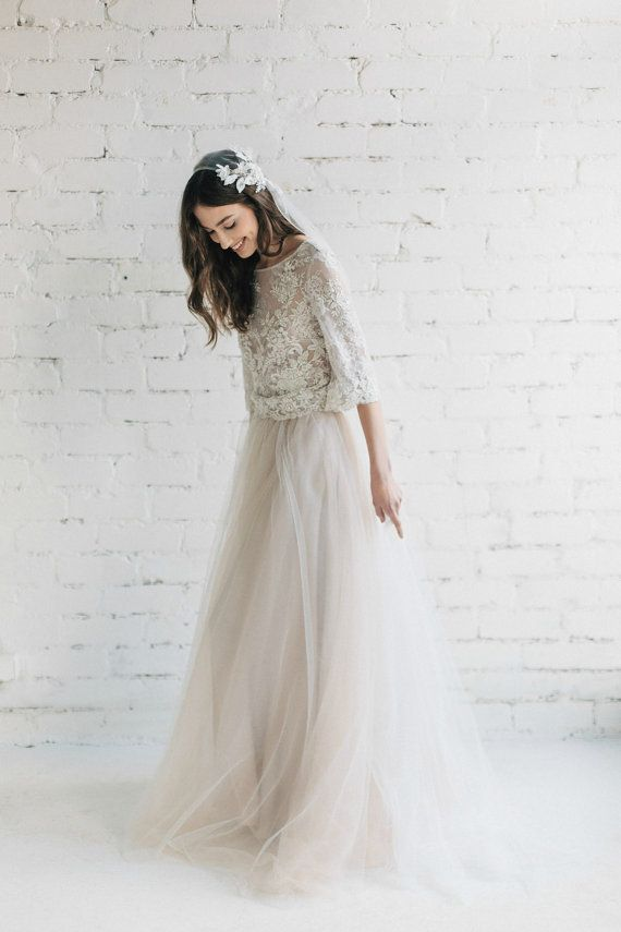 Boho Wedding Dress, Bridal Separates , Nude Lace Wedding Dress ...