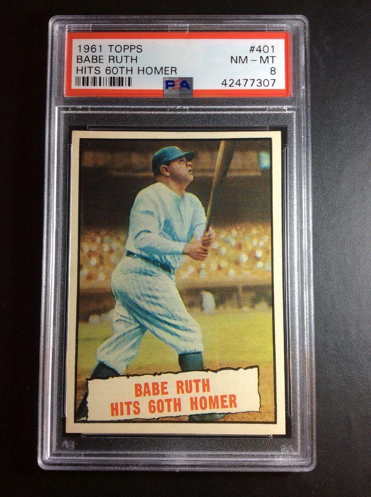 1961 topps 401 babe ruth hits 60th homer new york yankees