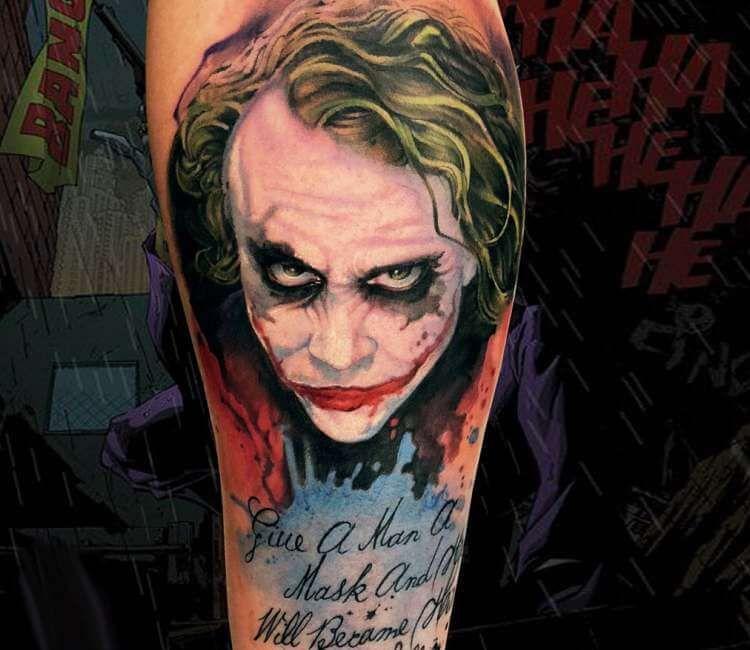Dark Knight Realistic Joker Tattoo Kata Kata Bijak Joker Tattoo Design Joker Tattoo Joker Face Tattoo