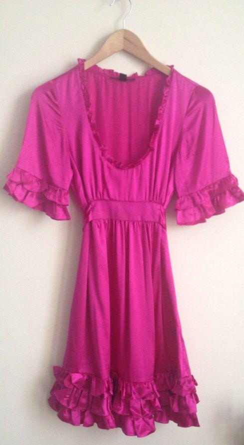 Betsey Johnson Hot Pink Silk Ruffle Cocktail Dress | Betsey johnson ...
