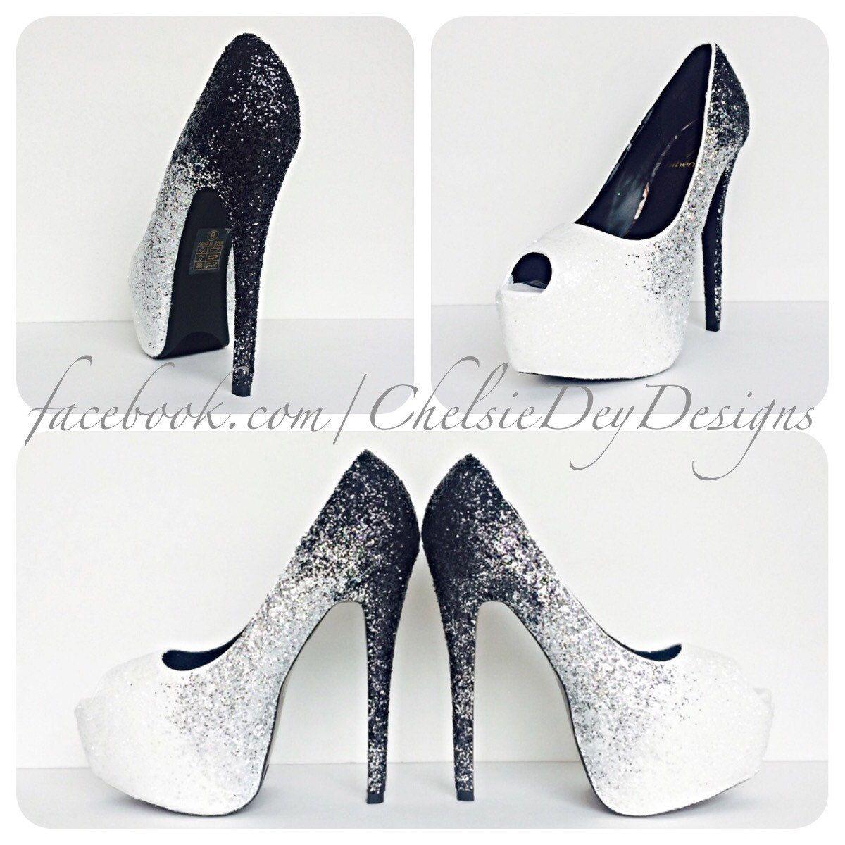 a61b228fc3e Glitter High Heels - Black Silver White Shoes - Ombre Peep Toe Pumps ...