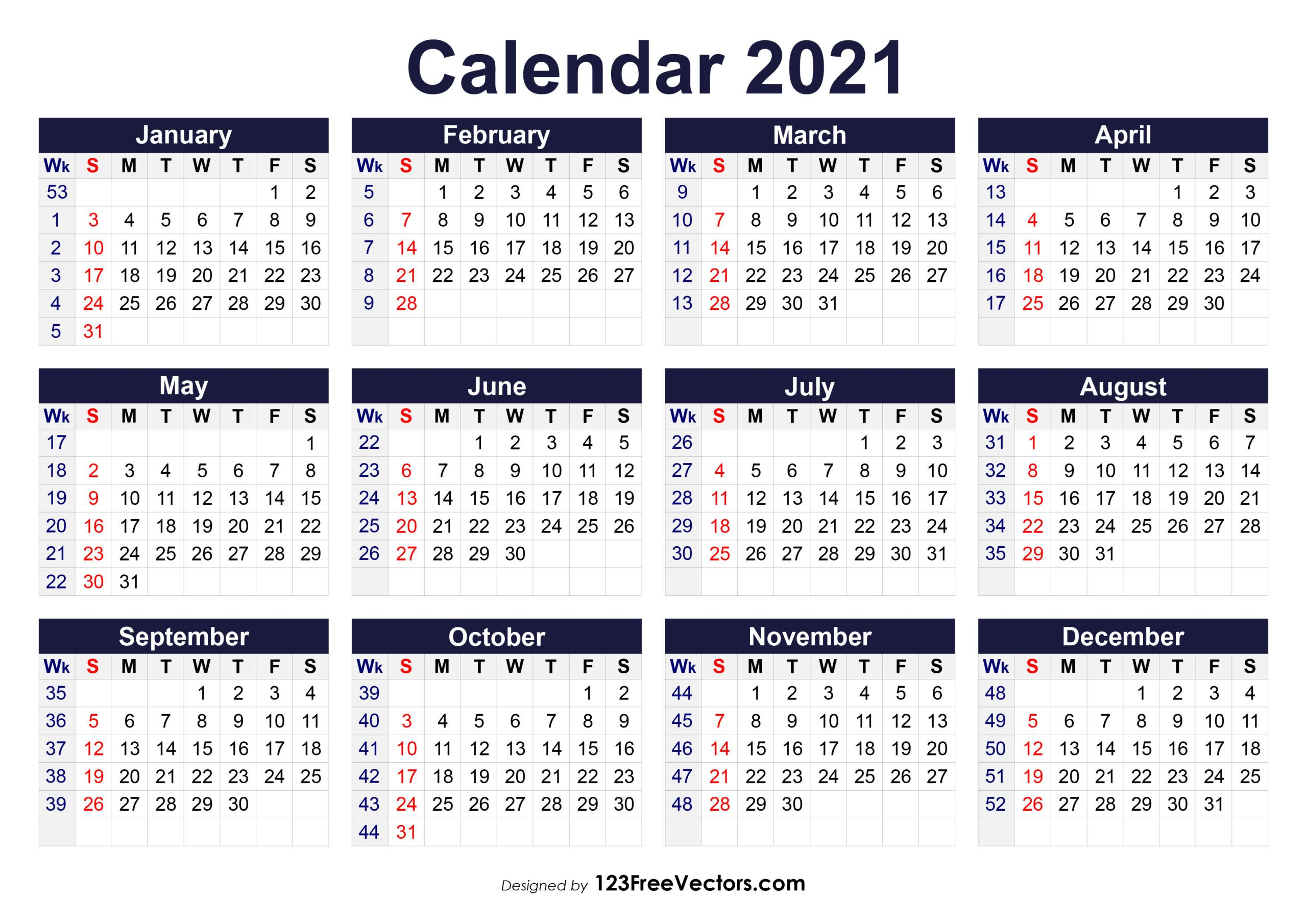 Free Printable 20 Calendar With Week Numbers within Monthly ...