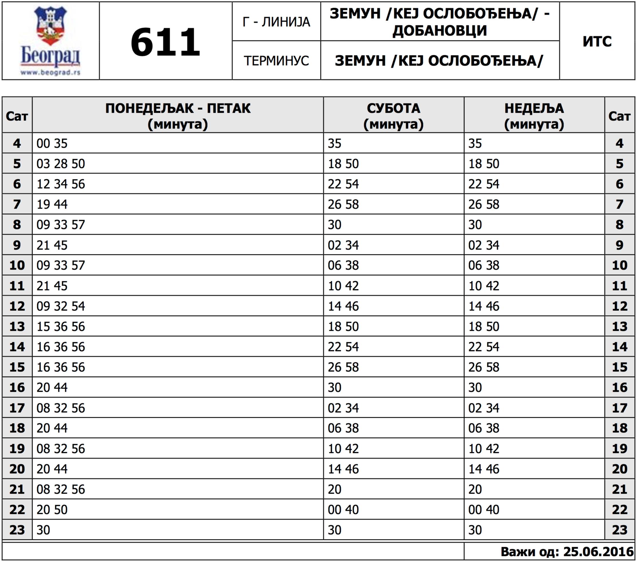 Red Vožnje - Linija 611 - Zemun (Kej Oslobođenja) - Dobanovci