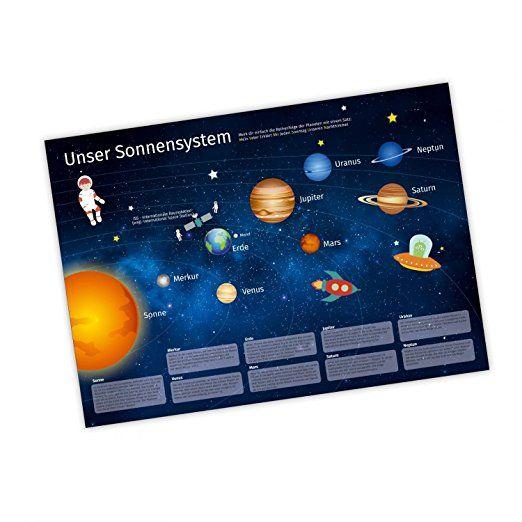 nikima Kinder Lernposter Sonnensystem Plakat für