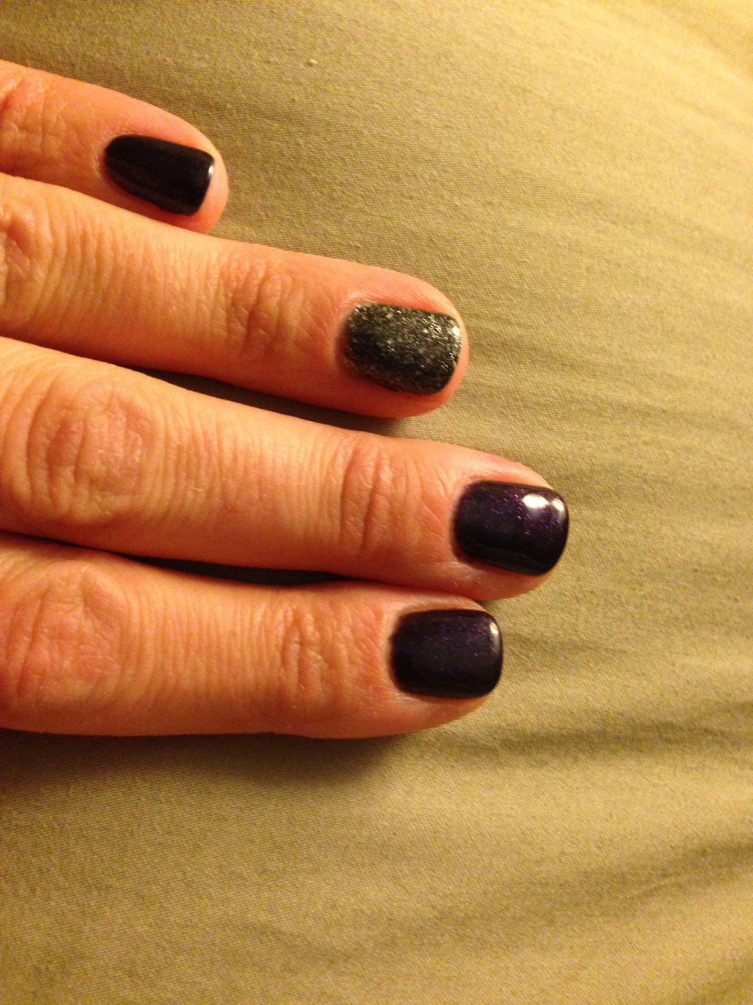 Deep plum nails with dark grey glitter accent nail for fall. | Nail ...