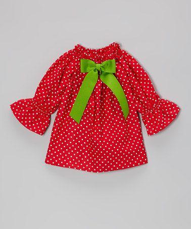 Red Amp Green Polka Dot Long Sleeve Dress Infant Amp Toddler