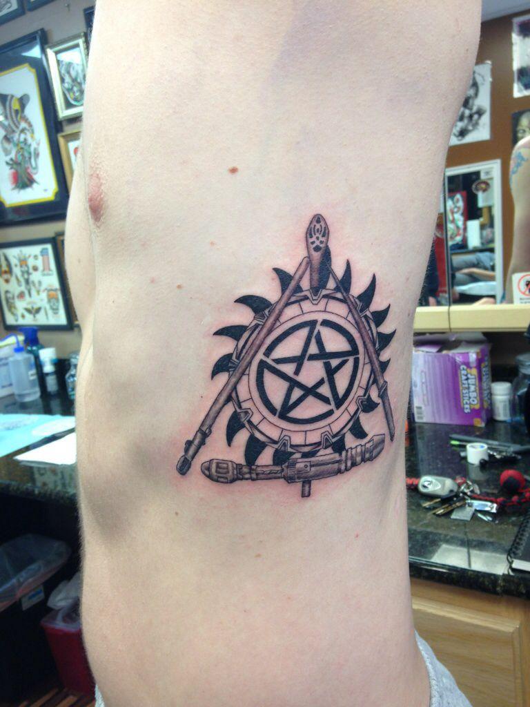 Fandom Tattoo Harry Potter Dr Who Stargate Lotr Supernatural And Star Wars Fandom Tattoos Supernatural Tattoo Tattoos