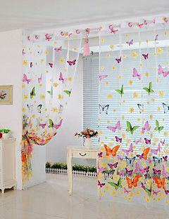 200cm 100cm Butterfly Print Sheer Window Panel Curtains Room