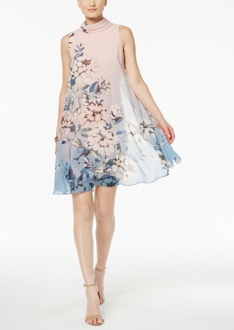 Vince Camuto Women/'s Floral-Print Chiffon Shift Dress
