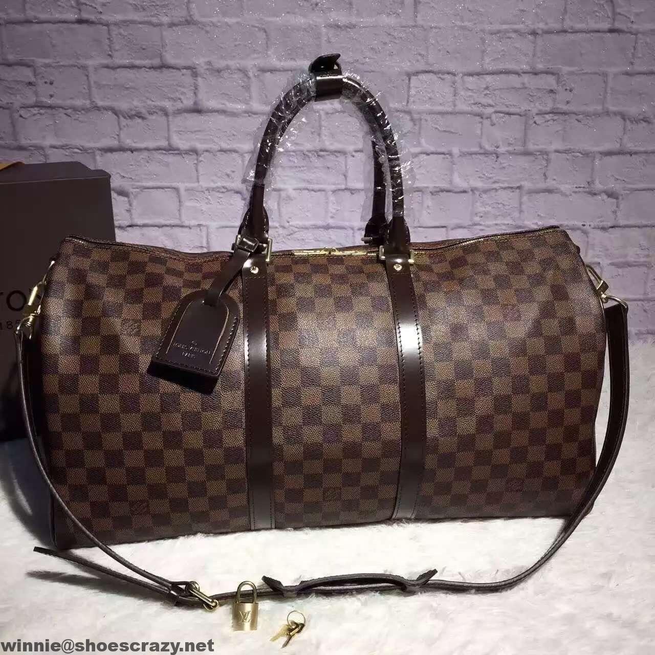 6d01c0ff35 Louis Vuitton Damier Ebene Canvas Keepall 50 Bandouliere Bag | Louis ...