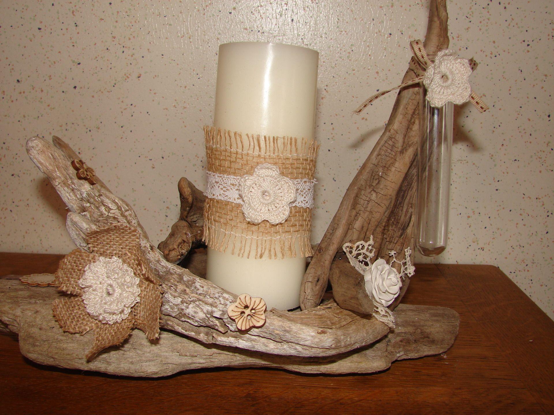 bougeoir, bois flotté, création artisanale : luminaires par tallie