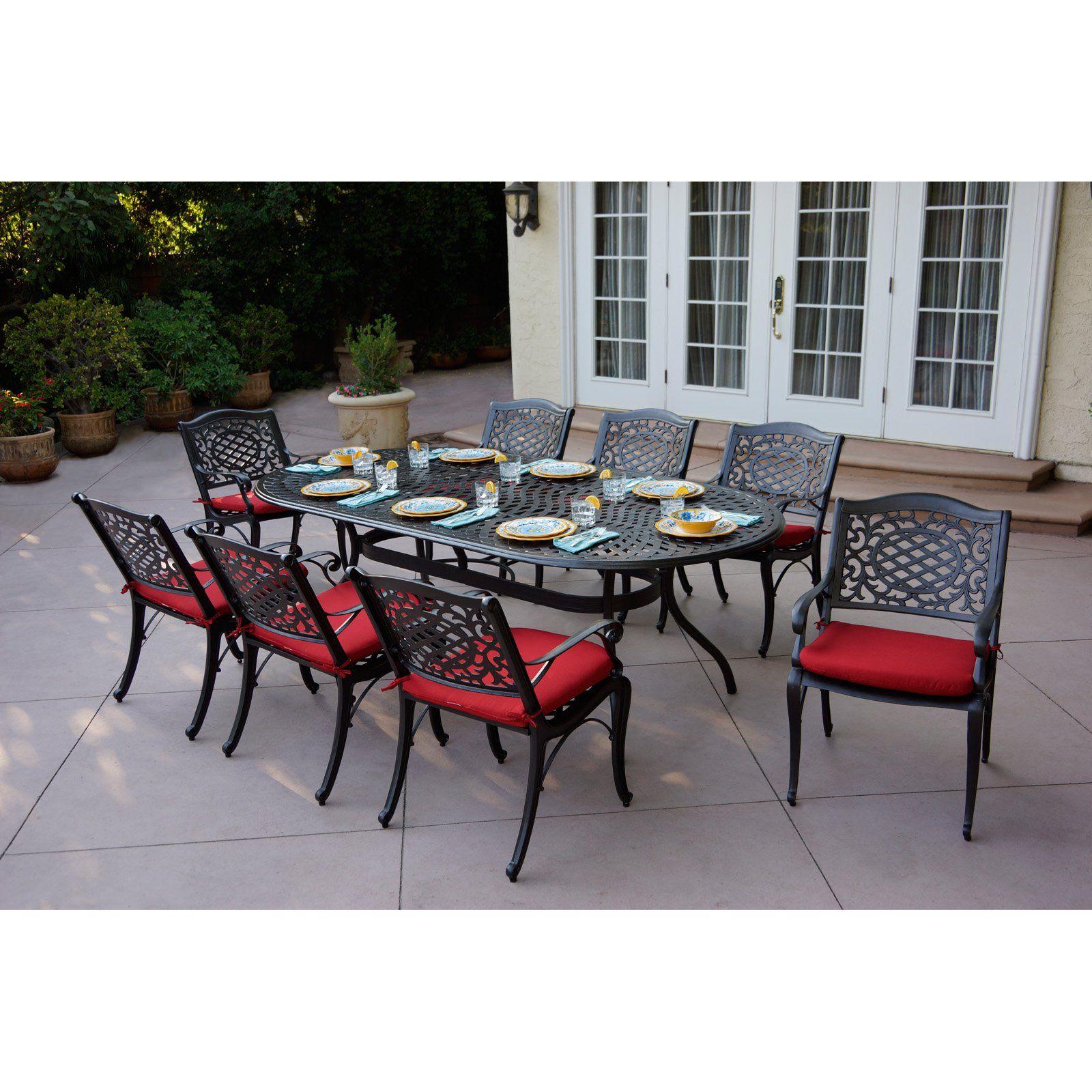 Ac Home Pasadena Cast Aluminum 9 Piece Outdoor Patio Dining Set