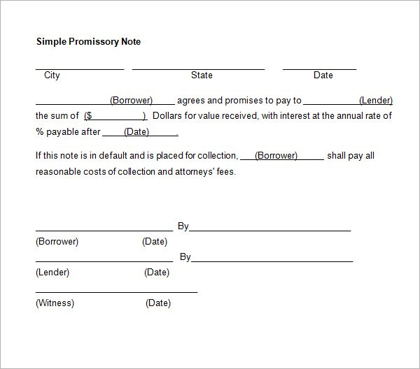 Printable Sample Simple Promissory Note Form – Promissory Note Blank Form