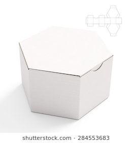 closed hexagonal cardboard box box with die cut template on white