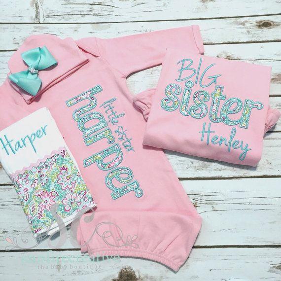 a9308dcdb200 Big Little Sister Sibling Shirt Gown Set PINK by sunfirecreative ...