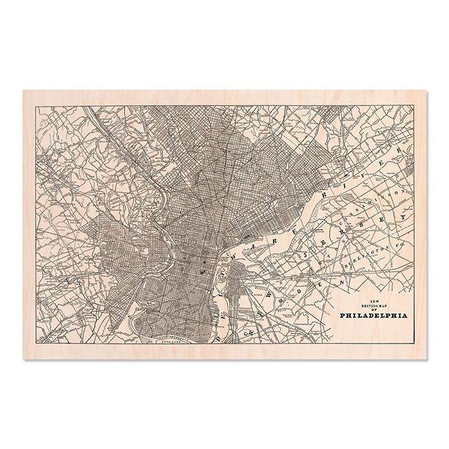 ⠀⠀⠀⠀⠀⠀⠀⠀⠀ Philadelphia - Vintage map on maple wood. Link in ...