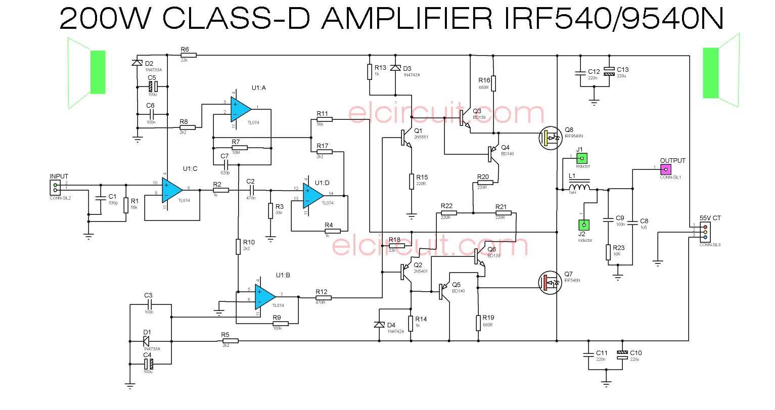 200w Class D Power Amplifier Irf540 Irf9540 Subwoofer Amplifier