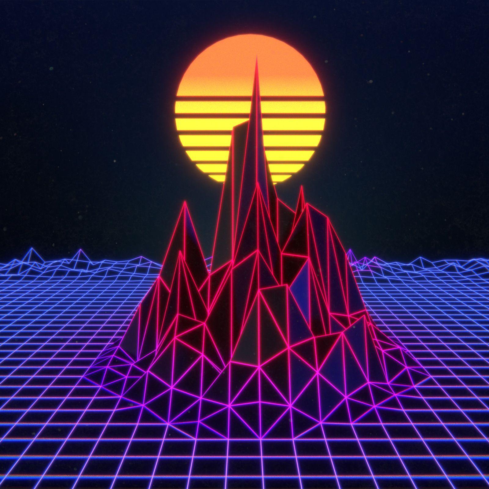 Synthwave Mountain, Ashley Arter on ArtStation at https