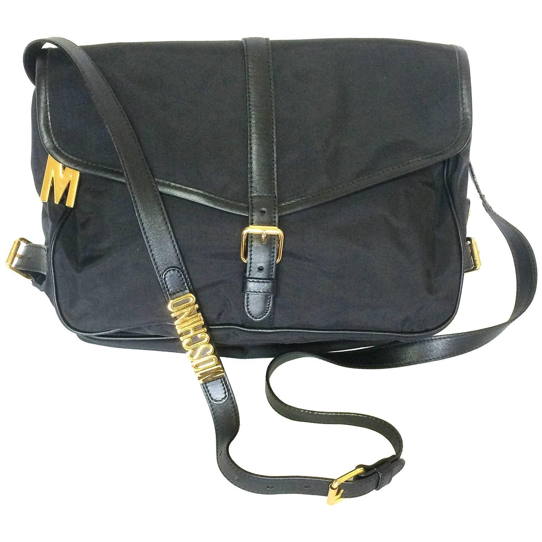 Moschino Mint. Vintage Moschino Black Nylon Saumur Messenger Shoulder Bag With Leather hqbKdrA
