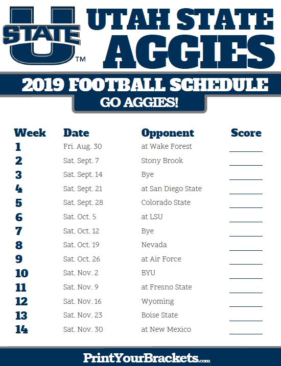 Printable 2019 Utah State Aggies Football Schedule Utah State University Utah State Aggies Aggie Football