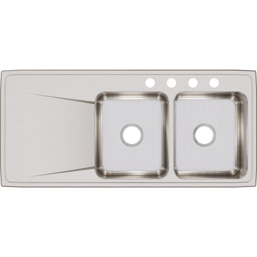 Elkay Lustertone Drop In Stainless Steel 48 In 4 Hole Double Bowl Kitchen Sink Silver In 2020 Double Bowl Kitchen Sink Elkay Steel