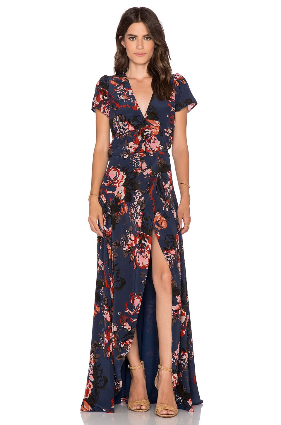 Helena Quinn Claire Maxi Wrap Dress In Navy Rose Print