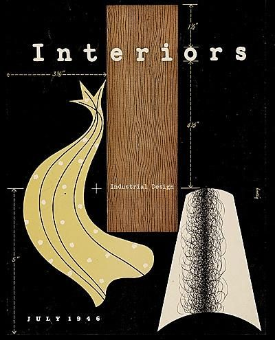 """""""Interiors"""" (Industrial Design), July, (1946), Magazine Cover - GraphicArt by Alvin Lustig (b. 1915 - d. 1955, USA)."""