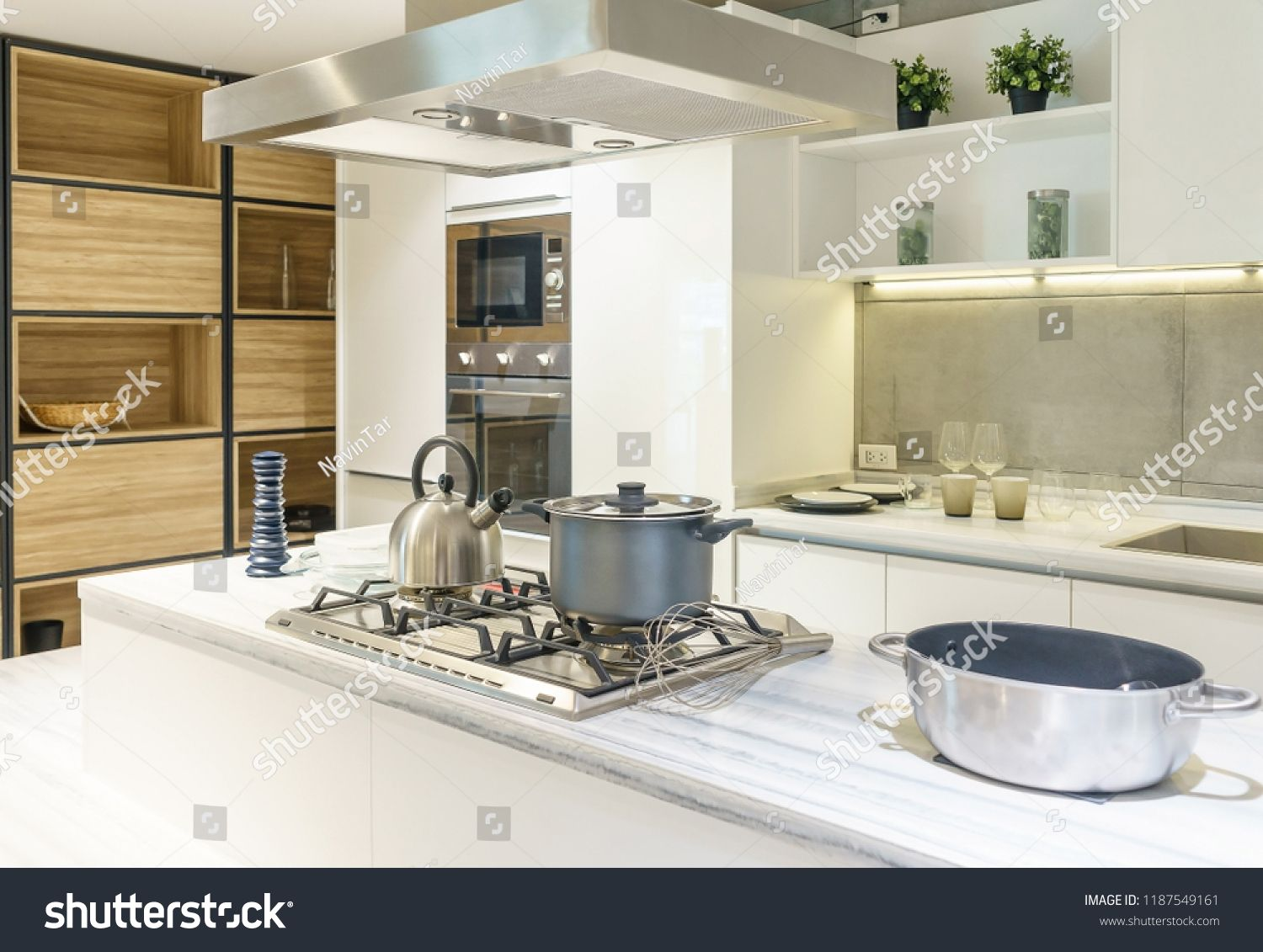 Bright Modern Kitchen With Stainless Steel Appliances Interior