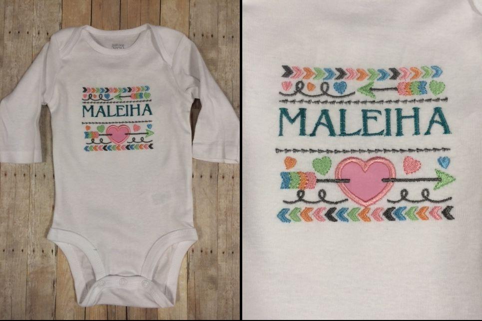 "Maleiha ~ 3mos Child of Mine ~ Machine Embroidery design : Lynnie Pinnie:  Tribal Arrows & Hearts  - Name font machine builtin ""ROMAN"""