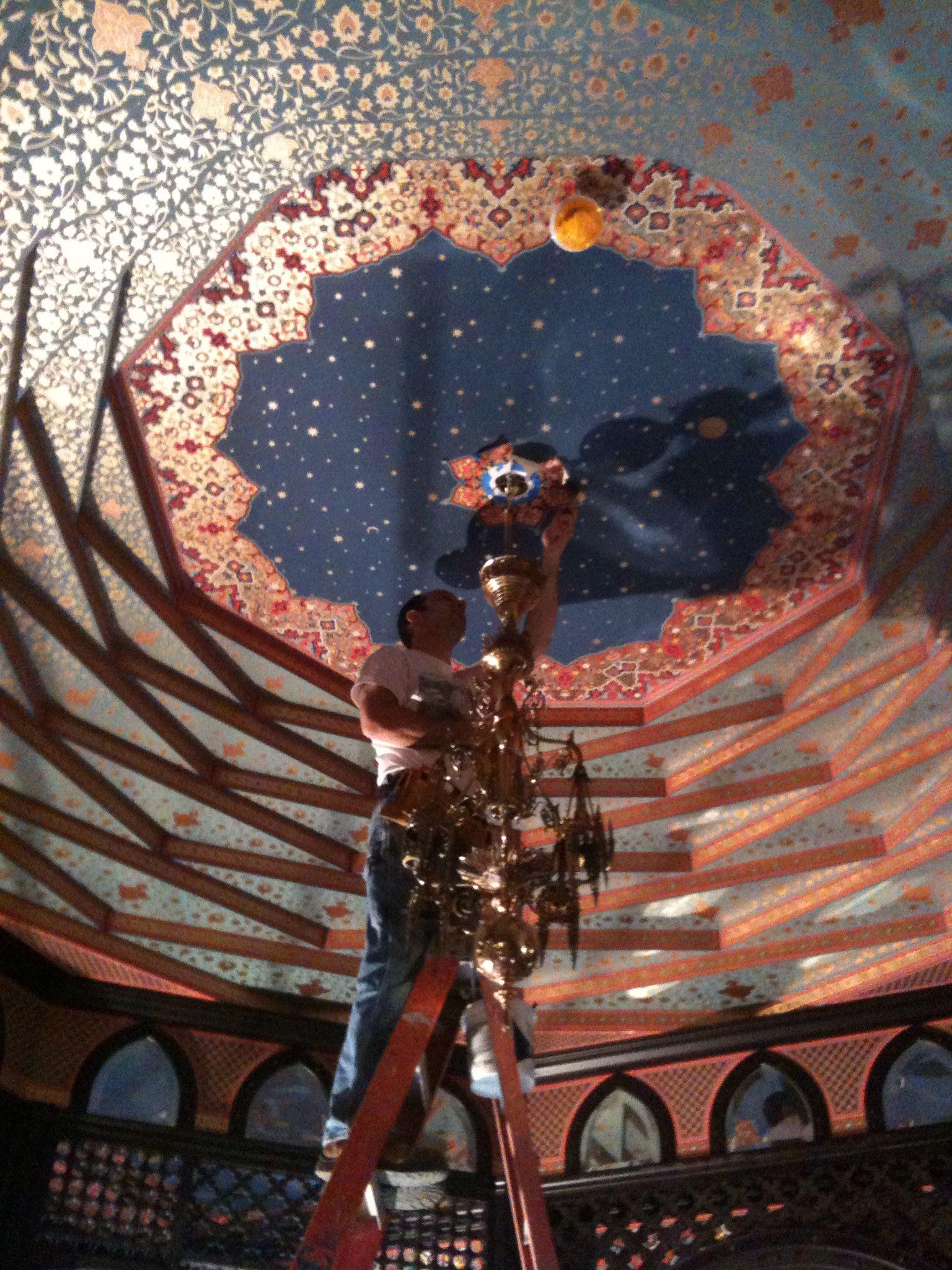 Bradbury wallpaper installed on a stepped ceiling Heidi Wright