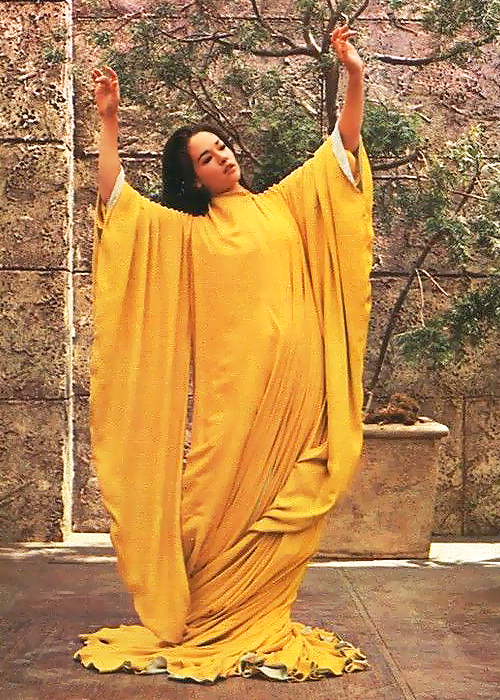 Olivia Hussey's saffron robes in Lost Horizon (1973) via the Fuck Yeah Olivia Hussey tumblr