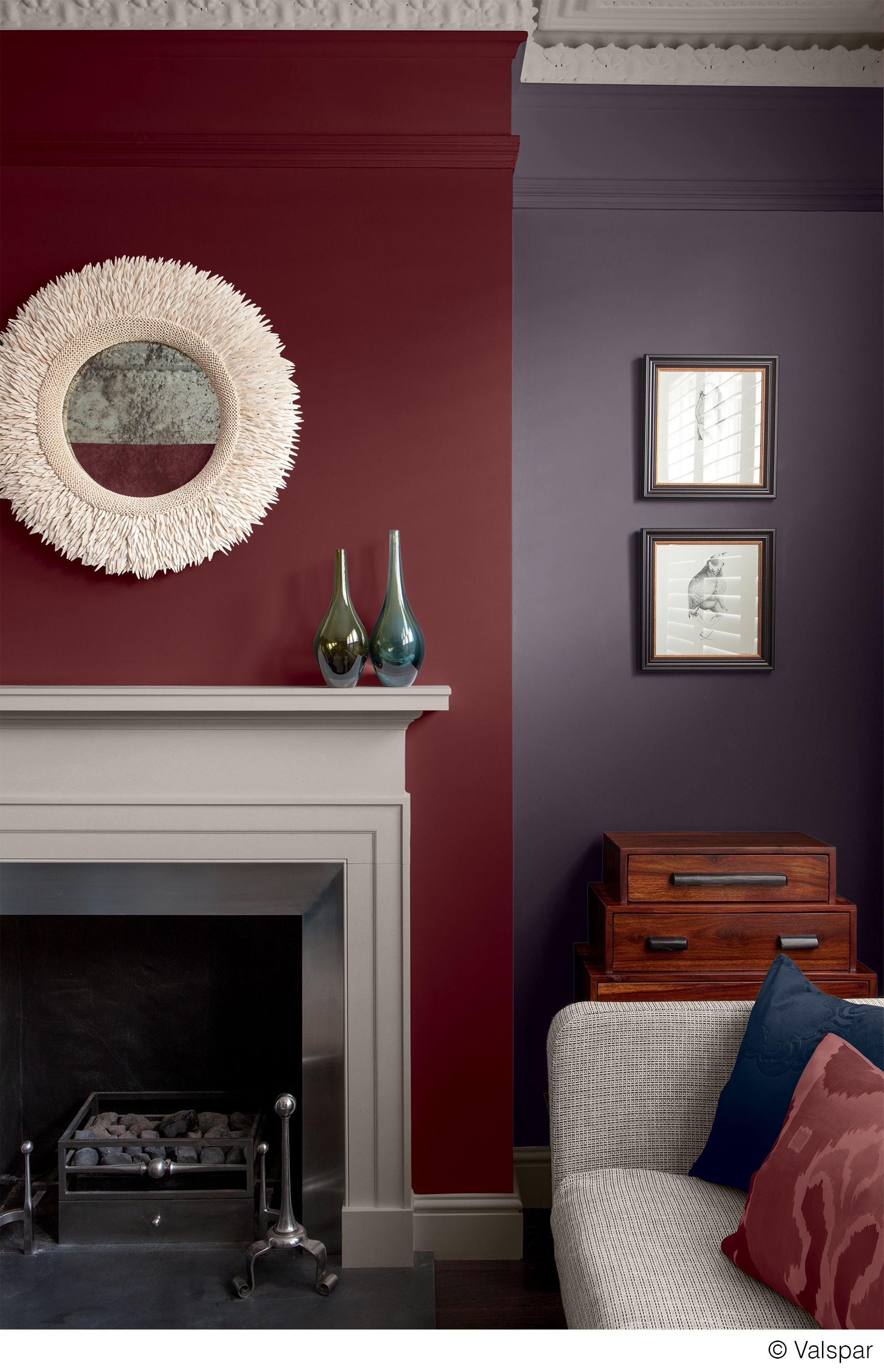 This mix of colors and textures makes for a cozy, comfortable room ...