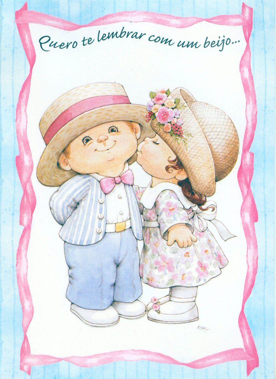 Днем, на открытке мальчик и девочка